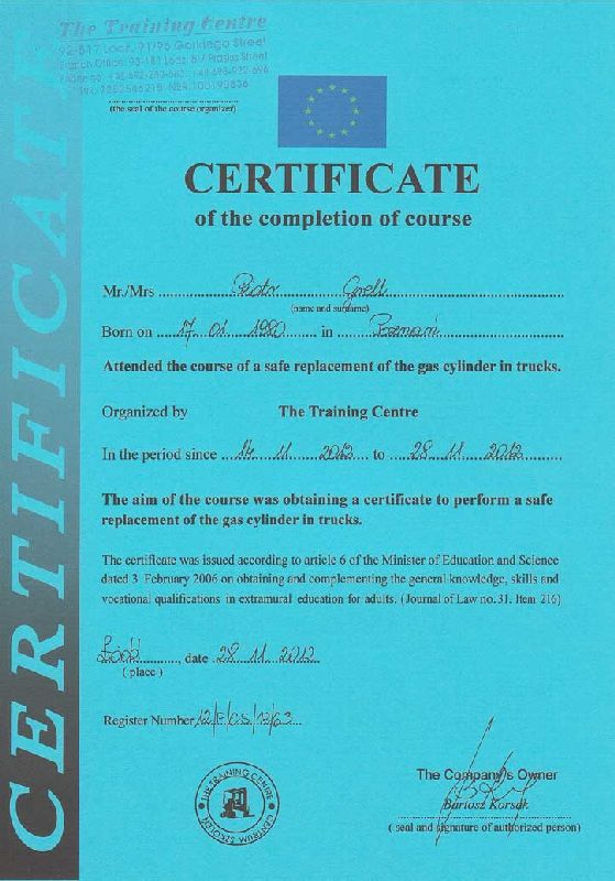 Certificate of the copletion of course attended a safe replacement if the gas cylinder in trucks